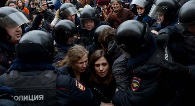 """Die Überwachungs-App """"Laplace Dämon"""" soll potenzielle Protestbewegungen in sozialen Netzwerken aufdecken. Foto: TASS"""