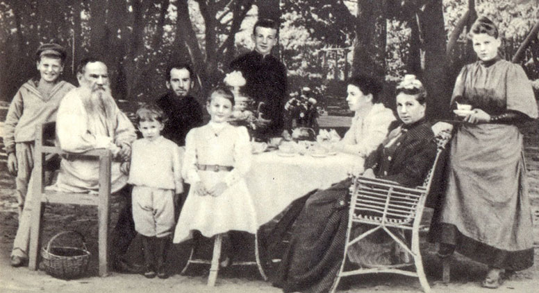 Leo Tolstoy with his family at tea in a park, 1892. Source: Press photo