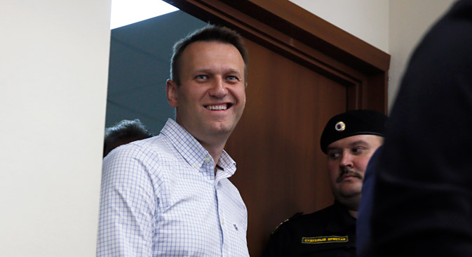 Alexei Navalny at the Lyublinsky district court in Moscow, on 13 May. Source: EPA