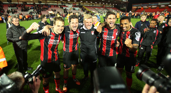 Bournemouth players and manager Eddie Howe pose for photographers, April 2015. Source: Imago/Legion-Media
