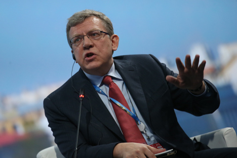 "Alexei Kudrin taking part in a panel session titled ""Economics: Frank Answers to Pressing Questions"" at the St. Petersburg International Economic Forum."