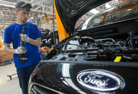 A worker on the Ford plant, which is located in Vsevolzhsk  near St. Petersburg.