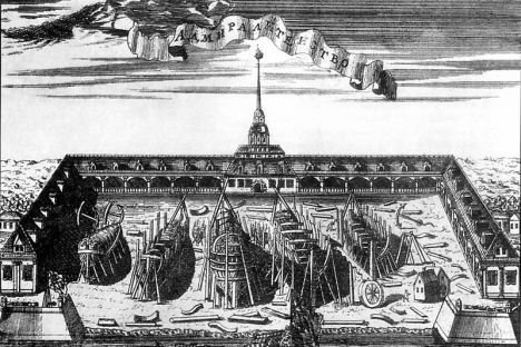 View of the Admiralty shipyard in an engraving by Alexei Zubov, 1716. Source: Open sources