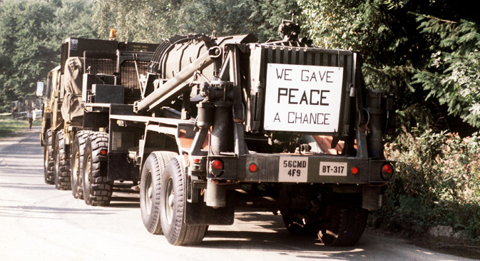 The first Pershing II missiles are transported away from the deployment place in Heilbronn, Germany, September 1, 1988, according to the INF agreement between the U.S. and Russia. Source: DPA/Vostock-Photo