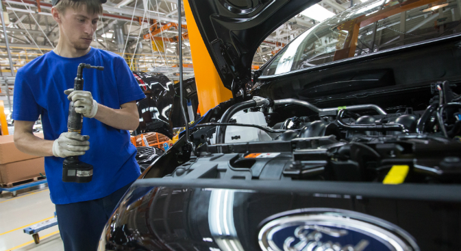 A worker on the Ford plant, which is located in Vsevolozhsk near St. Petersburg. Source: TASS