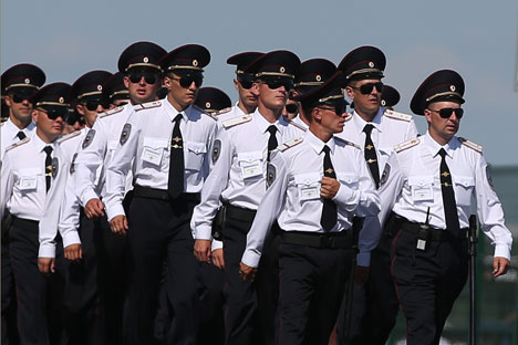 Police officers at the Kazan Arena. Source: TASS / Stanislav Krasilnikov