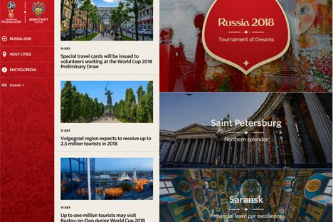 The Internet portal contains over 15,000 exclusive pictures of Russian cities, selected to be the venues for the football championship's matches. Source: Welcome2018.com