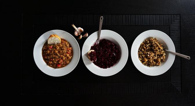 3 kinds of caviars via Soviet Diet cookbook. Source: Anna Kharzeeva