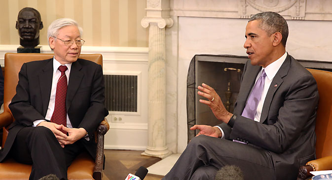 U.S. President Barack Obama meets with Nguyen Phu Trong, General Secretary of the Communist Party of Vietnam, in Washington D.C., July 7, 2015. Source: EPA