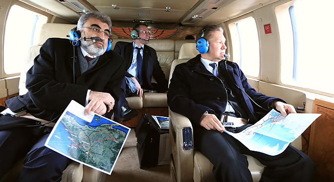 Chairman of the Board of Gazprom Alexey Miller (R) is seen during examination with 4-hour helicopter tour with Turkey's Energy Minister Taner Yildiz (L) on possible course of Turkish Stream pipeline in Istanbul on Feb. 08, 2015. Source: Getty Images