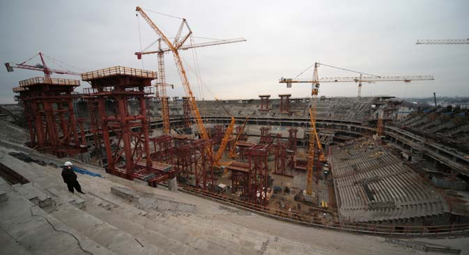 The construction of Zenit-Arena Stadium on Krestovsky Island in St. Petersburg. Source:  Igor Russak / RIA Novosti