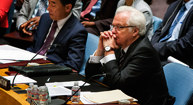 Russian Ambassador to the UN Vitaly Churkin: 'The position that we took today has nothing to do with the promotion of impunity.' Source: Reuters