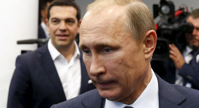 President Vladimir Putin and Greek Prime Minister Alexis Tsipras had talked by phone July 6, the day after the country's referendum on the EU economic rescue plan. Source: Reuters