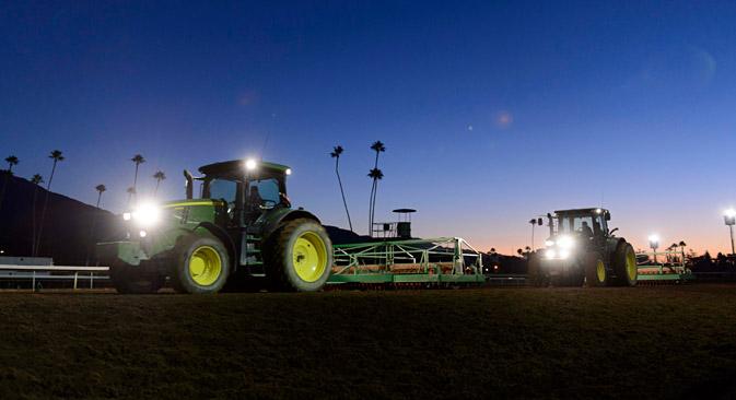 Russian companies buy less U.S. transportation equipment, cars and tractors. Source: Reuters