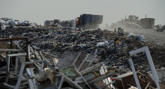 Garbage at the Yekaterinburg municipal unitary enterprise at the Shirokorechensky solid waste field. Source: Donat Sorokin / TASS