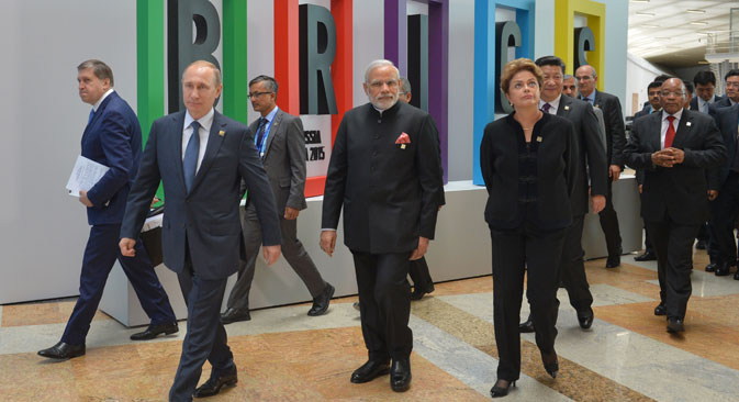 Russian Presidential Aide Yuri Ushakov, Russia's President Vladimir Putin, India's Prime Minister Narendra Modi, Brazil's President Dilma Rousseff, China's President Xi Jinping, and South Africa's President Jacob Zuma (L-R) at a welcoming ceremony for the BRICS leaders, Ufa, July 9. Source: EPA