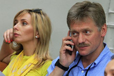 Juru Bicara Kremlin Dmitry Peskov (kanan) dan penari Tatyana Navka.