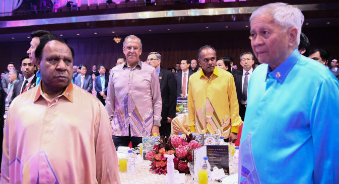 Sergey Lavrov at a dinner for delegates of the ASEAN Ministerial Meetings in Kuala Lumpur, August 5, 2015. Source: Russian Foreign Ministy