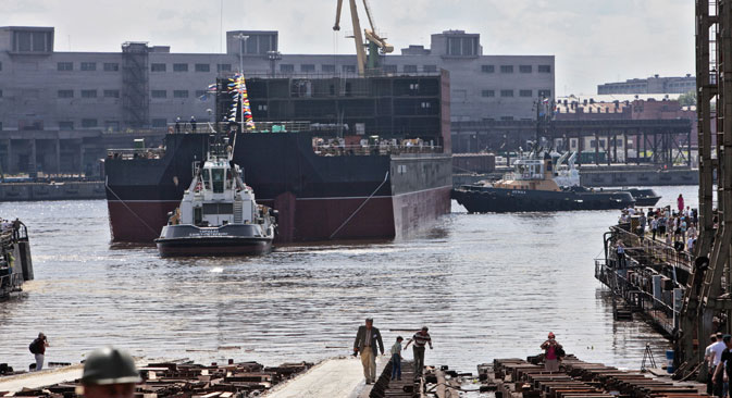 Launching of floating nuclear power plant unit at the Baltic Shipyard, 2010. Source:  Alexei Danichev / RIA Novosti