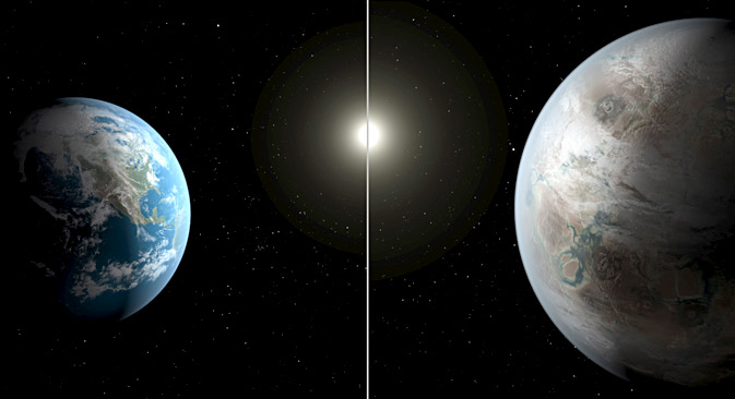 An artistic illustration compares Earth (L) to a planet beyond the solar system that is a close match to Earth, called Kepler-452b in this NASA image released on July 23, 2015. Source: Reuters