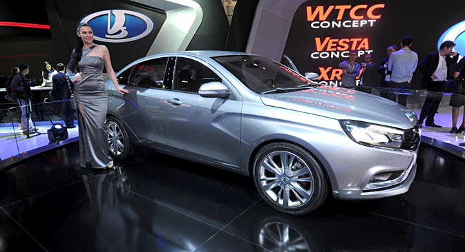 A Lada Vesta car at the opening of the Automobile Industry Forum in Togliatti, 2014. Source: PhotoXPress