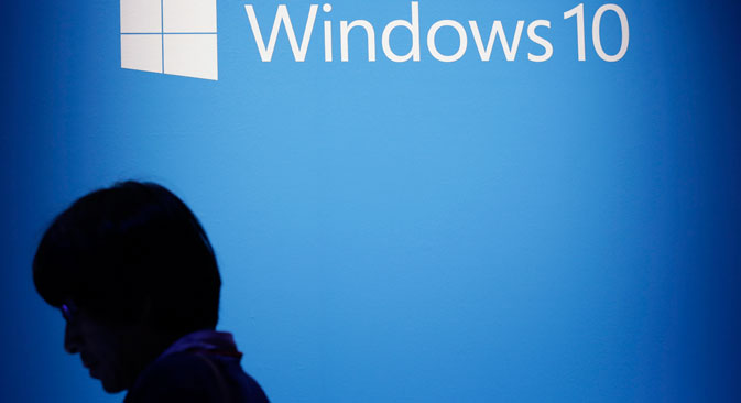 The Windows 10 logo sits on display during the operating system's launch event in Tokyo, July 29, 2015. Source: Getty Images