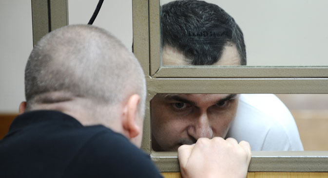 The Ukrainian film-maker Oleh Sentsov in the North-Caucasian District Military courtroom, Rostov-on-Don, the venue of initial hearings on the acts of terrorism in Crimea, Aug. 25. Source: RIA Novosti/Sergey Pivovarov