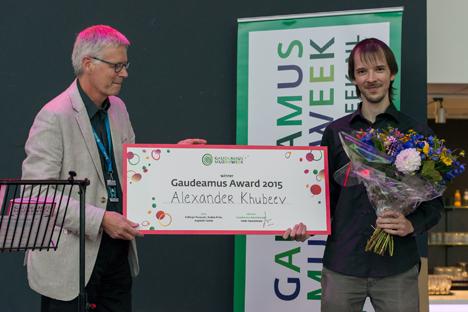 Russian composer Alexander Khubeev during the award ceremony. Source: Baldwin Herderson/Gaudeamus