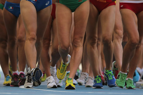 Athletes compete in women's 20 km race walk at the 2013 IAAF World Championships in Athletics in Moscow. Source: RIA Novosti/Vitaliy Belousov
