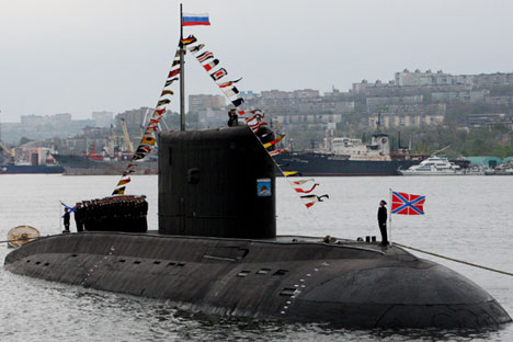Varshavyanka class diesel submarine at the military parade in Vladivostok to mark the 70th anniversary of Victory in the 1941-1945 Great Patriotic War, 2015.