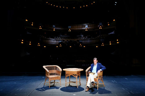 TV presenter Sergei Brilev reads Chekhov at the stage of Moscow Chekhov Art Theater