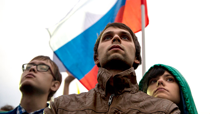 Opposition supporters attend a rally in Moscow. Source: AP