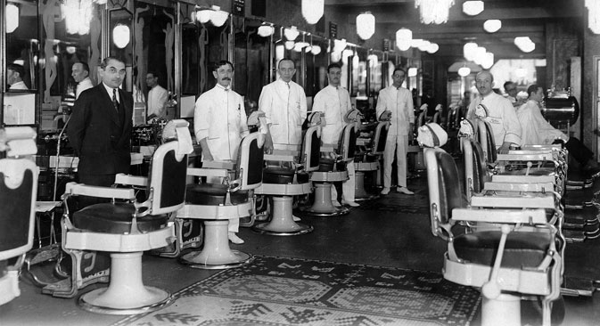 Inside the barbershop, 1910s. Source: Getty Images