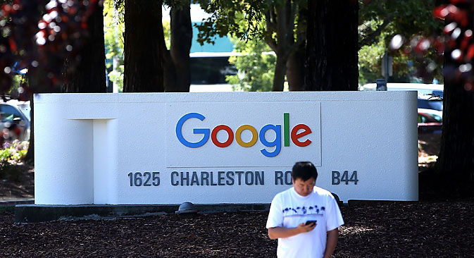 The new Google logo is displayed on a sign outside of the Google headquarters on September 2, 2015 in Mountain View, California. Source: Getty Images