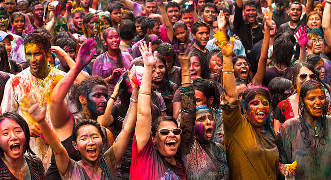 People celebrate Holi, The Festival of Colors, Mar 31, 2013 in Kuala Lumpur. Holi, marks the arrival of spring, and is one of the biggest festivals in Asia. Source: Shutterstock/Legion Media