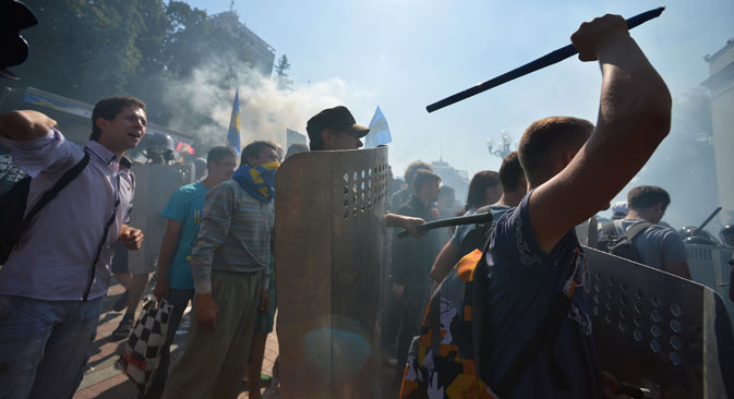 Participants in protest rallies near the building of Verkhnovna Rada in Kiev during clashes with law enforcement officers, Aug.31. Source: RIA Novosti/Alex Vovk