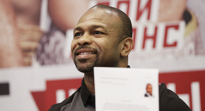 Roy Jones  Jr., who applied for Russian citizenship at a news conference in Yalta on the eve of the Battle of Mount Gasfort international boxing show. Source:  Maks Vetrov / RIA Novosti