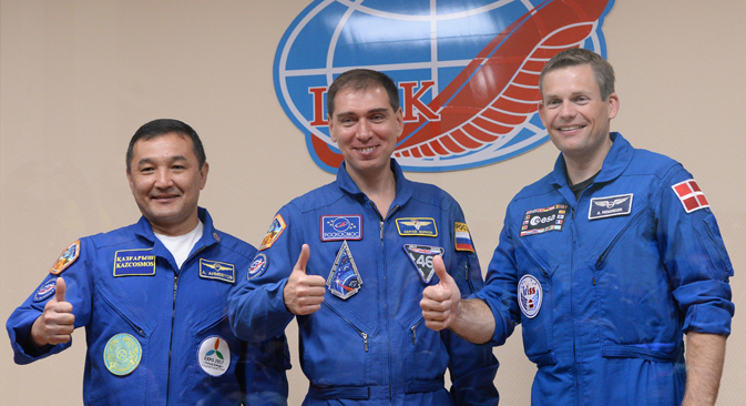 Members of the ISS expedition: Republic of Kazakhstan Cosmonaut Aidyn Aimbetov, Russian Federal Space Agency Cosmonaut Sergei Volkov and European Space Agency astronaut Andreas Mogensen. Source: Alexey Filippov / RIA Novosti