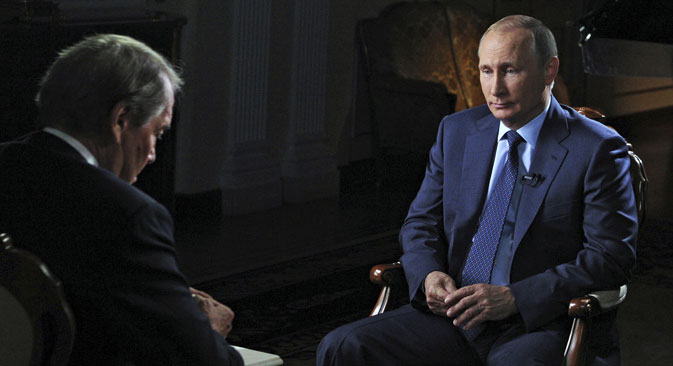 Putin and American journalist Charlie Rose. Source: Reuters