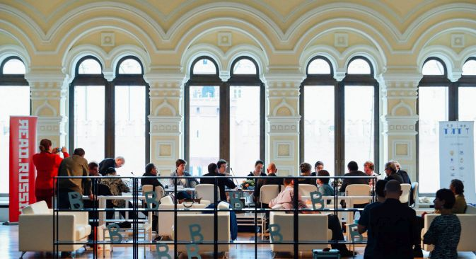 The Russian Library's first board meeting at Moscow's Festival of Books in June. Source: Read Russia