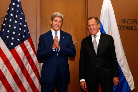Russian Foreign Minister Sergei Lavrov and U.S. Secretary of State John Kerry met several times on the sidelines of the UN General Assembly session in New York. Source: AP