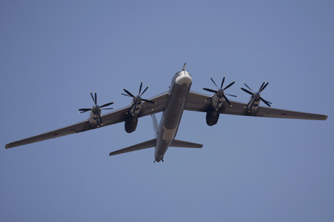 """On April 17, 2017, two Tu-95MS strategic bombers from the Ukrainka airbase have successfully performed tasks under the air patrol schedule."""