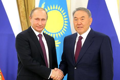 Vladimir Putin and Nursultan Nazarbayev.