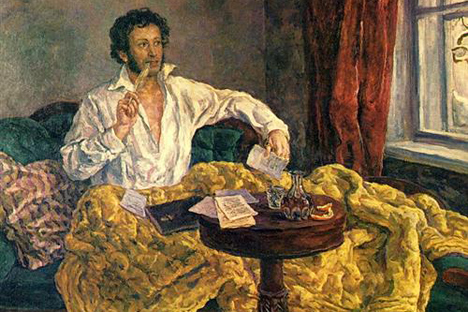 Pushkin at Mikhailovskoye (the Pskov Region). Source: Pyotr Konchalovsky