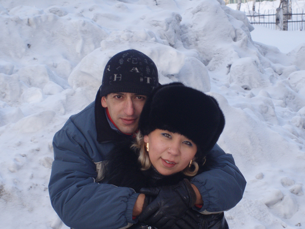 Tamara Ingechekova con su novio Vladímir.