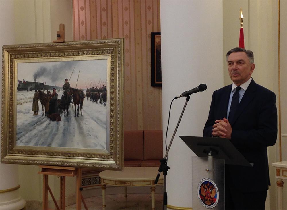 Embajador de Rusia en España, Yuri Korchagin, durante la presentación del cuadro.