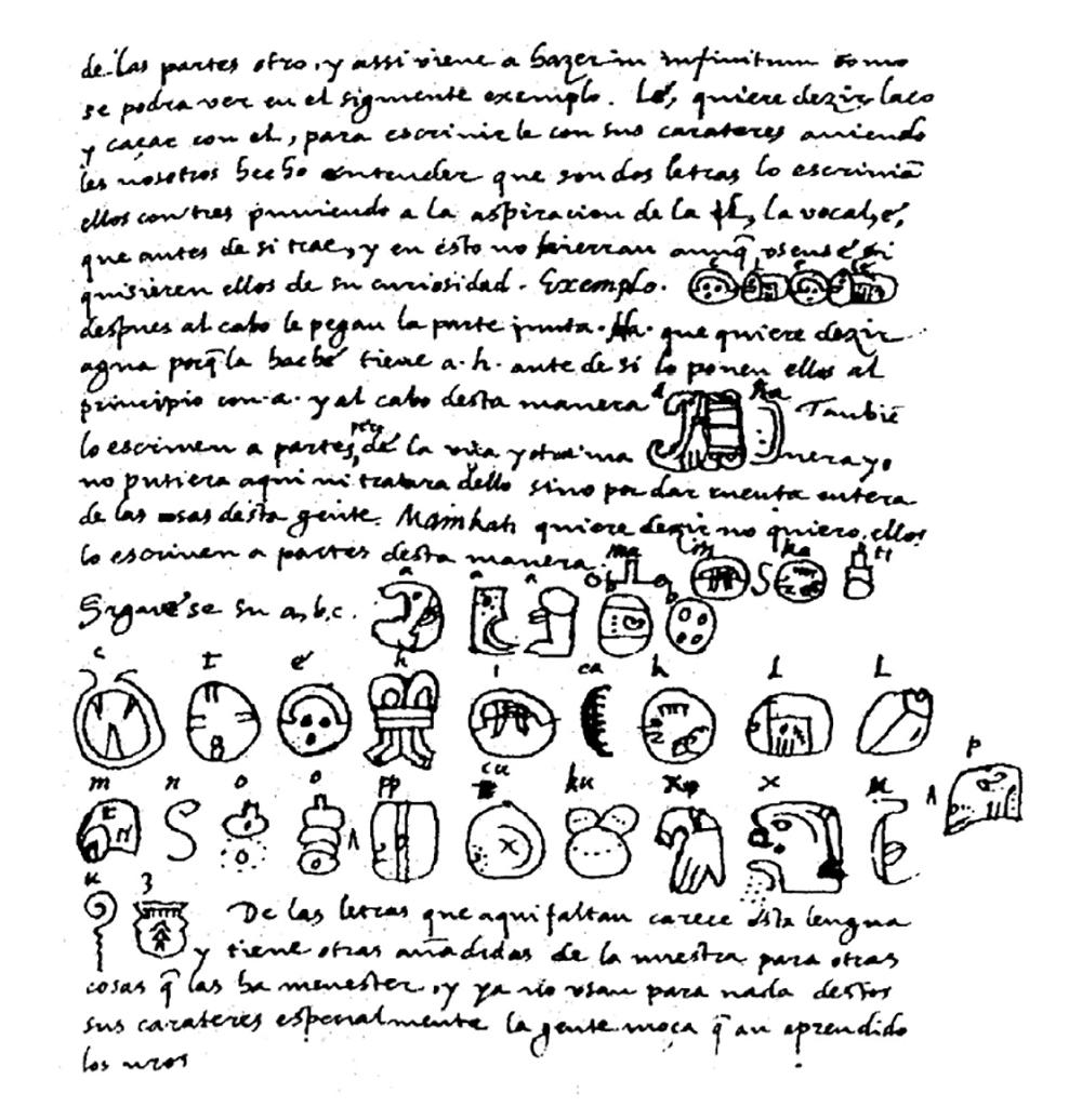 """Una página de """"Relación de las cosas de Yucatán"""" (1853) de Diego de Landa. La descripción del alfabeto de Landa le ayudó a Knórozov a descifrar el código maya. Fuente: Wikipedia"""