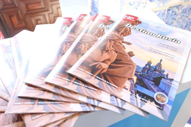 """La revista """"Destino Rusia"""", publicada por RBTH y la Embajada de Rusia en España, estuvo disponible para los que se acercaron al evento."""
