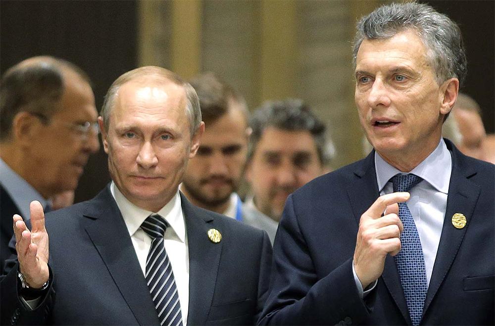 El presidente ruso Vladímir Putin con su homólogo argentino Mauricio Macri durante la cumbre del G20 en 2016.
