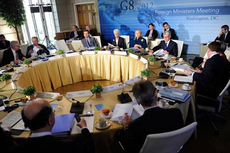El G8 reunido para discutir sobre el programa nuclear de Irán, en abril de 2012. Fuente: Reuters.